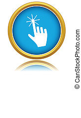 Click here icon over white background Vector illustration