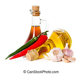 spices and oil, pepper chili. Ingredients for cooking