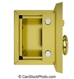 Opened gold safe. Isolated render on a white background