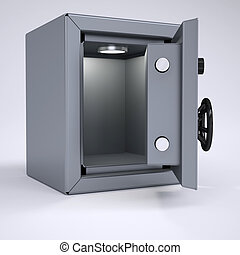Opened metal safe. Render on a gray background