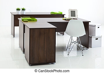 desks and armchairs with reflection on white background