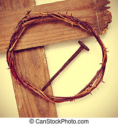 the Jesus Christ crown of thorns and the Holy Cross, with a...