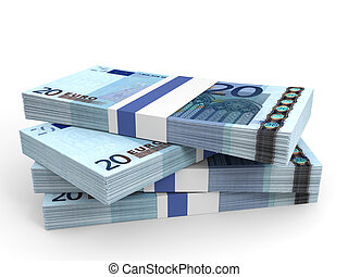 Stack of EURO banknotes. Twenty euro. 3D illustration.