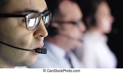 Busy agents - Three operator consulting clients online in...