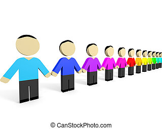 3D people. - Colored 3D people in row. 3D illustration.