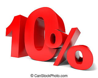 Red ten percent off. Discount 10%. 3D illustration.
