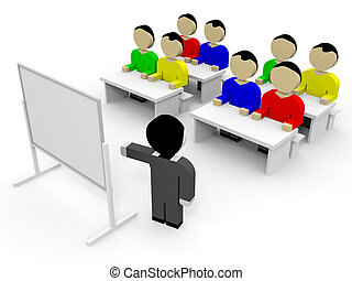 3D business people. Training. 3D illustration.