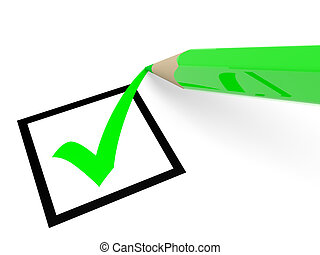 Checkbox - Green tick in checkbox and pencil Vote 3D...
