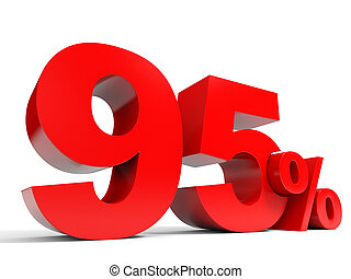 Red ninety five percent off. Discount 95%. 3D illustration.