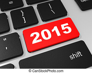 2015 new year key on keyboard 3D illustration