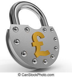 Padlock with golden pound symbol. - Padlock with golden...