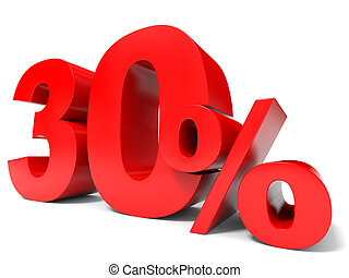 Red thirty percent off Discount 30 3D illustration