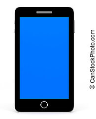 Smart phone with blue screen.