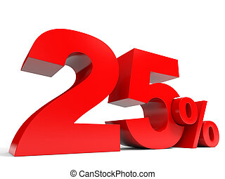 Red twenty five percent off Discount 25 3D illustration