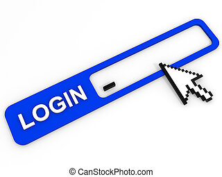 Login field. Internet security concept. 3D illustration.