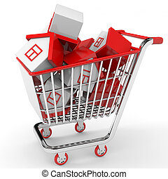 Real estate market. Toy houses in shopping cart. 3D...