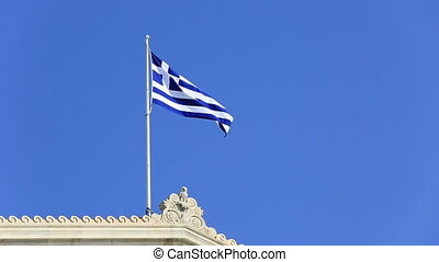Greek Flag 2 - Greek flag waving in the wind and clear blue...