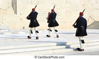 Evzones in ceremonial dress in Athens, Greece