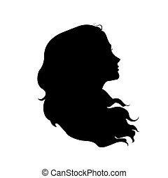 Silhouette of woman's head with waving hair