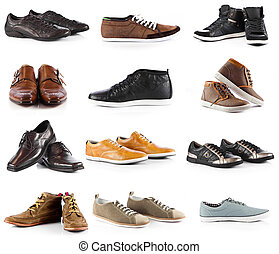 Male shoes collection men shoes over white background - Male...