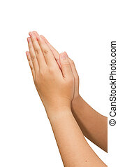 woman hands hold hands together is symbol prayer and...