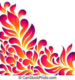 Abstract floral background with drops and leaves