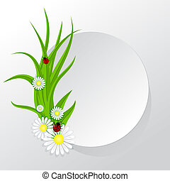 Circle frame with grass and chamomiles