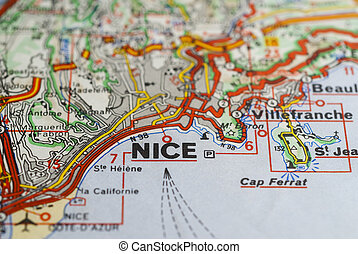 Nice,France map - closeup of city of Nice,France with...