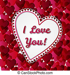 Greeting Valentines days card with hearts