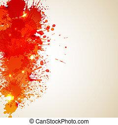 Orange background with blot and splashes? - Orange yellow...