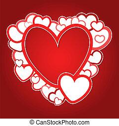 serca, ułożyć, czerwony