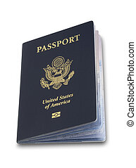 Us passport open isolated - Slightly open US passport on...