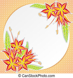 Greeting card with orange flowers - Greeting card with frame...
