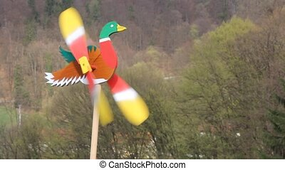 Duck as weather vane - Wooden Duck as colorful weather vane...