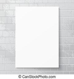 White paper banner against brick wall. White paper sheet....