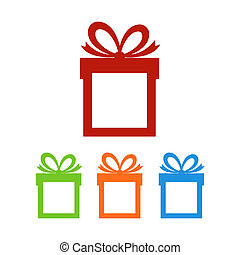 Set of gift boxes with place for text. Vector illustration