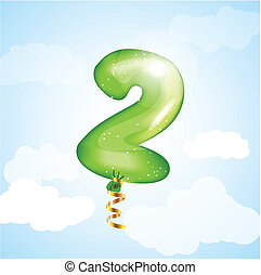 Number Two Balloon - Number two balloon. Vector element for...