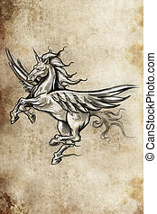 Tattoo unicorn sketch, handmade design over vintage paper -...