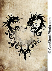 Dragon tribal with sphere, Tattoo sketch, handmade design...