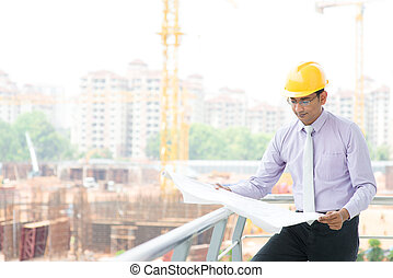 Indian male contractor engineer - Portrait of a smiling...