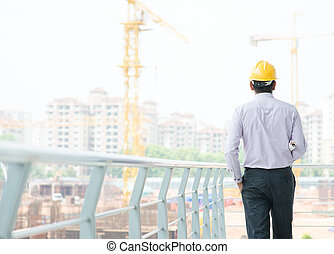 Asian Indian male contractor engineer - Rear view of a Asian...