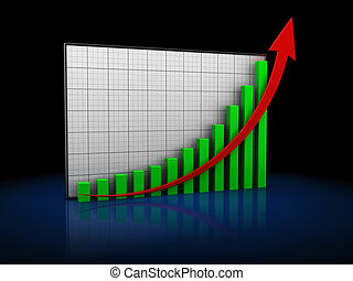 risng charts - 3d illustration of rising business graph over...