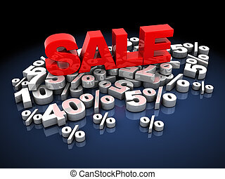 sale - abstract 3d illustration of sale sign and heap of...