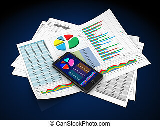 business reports - 3d illustration of business documents and...