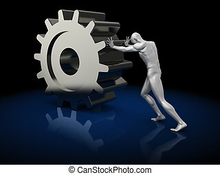 pushing gearwheel - abstract 3d illustration of man pushing...