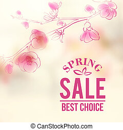 Spring sale and flowers Vector illustration