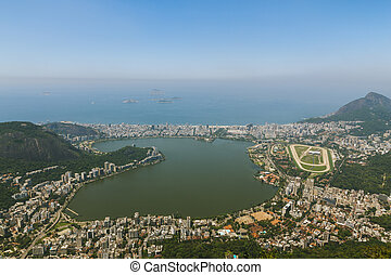 Aerial view over Rio and Aut?dromo Internacional Nelson...