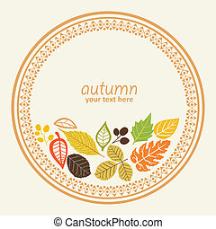 autumn round element - design round element with autumn...