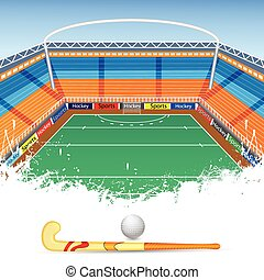 Field Hockey - vector illustration of Field Hockey ground...