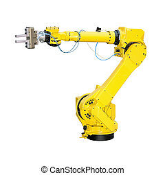 Industrial robot - Yellow robot arm for industry isolated...
